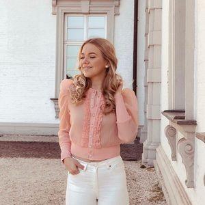 NWT Zara Knit Organza Cardigan in Pale Pink